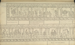 Narrative sculpture on the south side of the Amritesvara Temple at Amritpur, 1805. Fifth panel of the Ramayana frieze